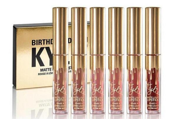 네 단락 6PCS / 부지 매트 립스틱이 묻은하지 않는 아름다움 유약 액체 립 글로스 모이스춰 라이저 생일 판 립스틱 립 메이크업