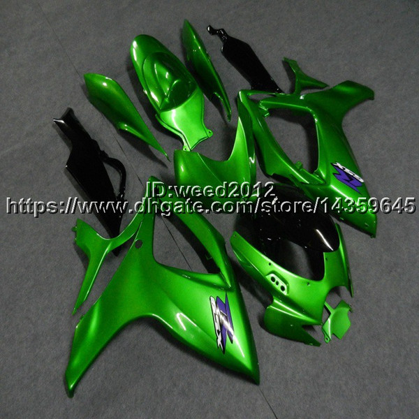 Personalizado + botls fairings motocicleta verde branco para SUZUKI GSX-R600750 2006-2007 GSXR600 750 K6 kit de painéis de motor de plástico ABS
