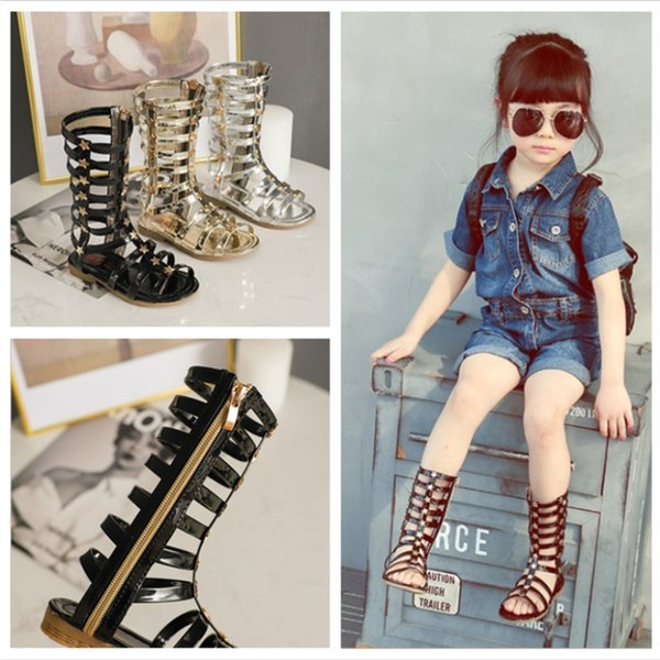 New 2019 Summer Children Gladiator Shoes Teenage Girls Stars Appliques Knee  High Boots Sandals EuropeStyle Kids Roman Shoes X314 Cute Girls Boots Buy
