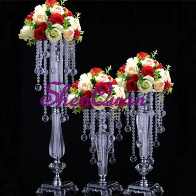 3 size acrylic crystal wedding flower holder crystal flower ware table centerpiece vase stand high wedding decoration