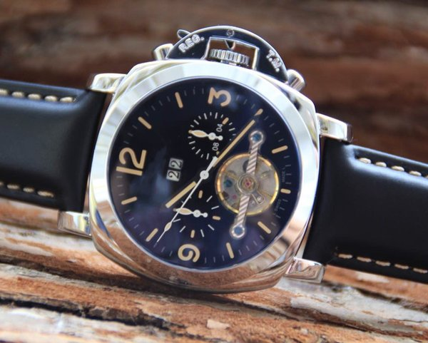 High-end watch, male fanatical steel case, leather strap watch.Dial diameter 44 cm, super luminous function.