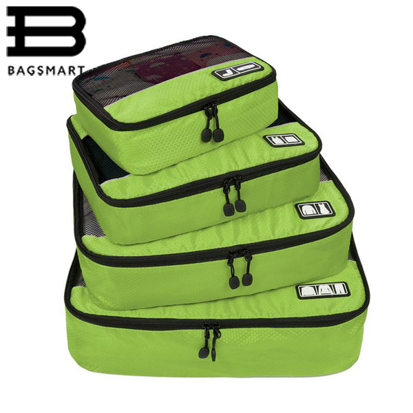 """BAGSMART New Breathable Travel Bag 4 Set Packing Cubes Luggage Packing Organizers with Shoe Bag Fit 23"""" Carry on Suitcase"""