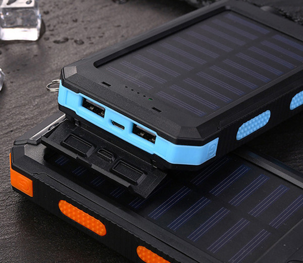 Cell Phone Power Bank 10000MAH Solar Portable Charger External Backup Battery Waterproof 2 USB Ports Battery Pack LED Flashlight for Outdoor