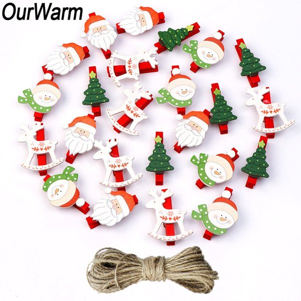 urWarm 24pcs décoration colorée Clips photo en bois bricolage Party Craft Noël Favors mariage Great Clips OurWarm 24pcs coloré christm ...