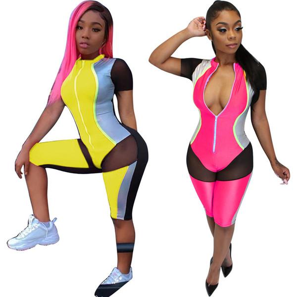 Femmes Combinaisons Rompers zip cou moulantes leggings mode longueur au genou diaphane à manches courtes maille casual vêtements d'été plus la taille 544