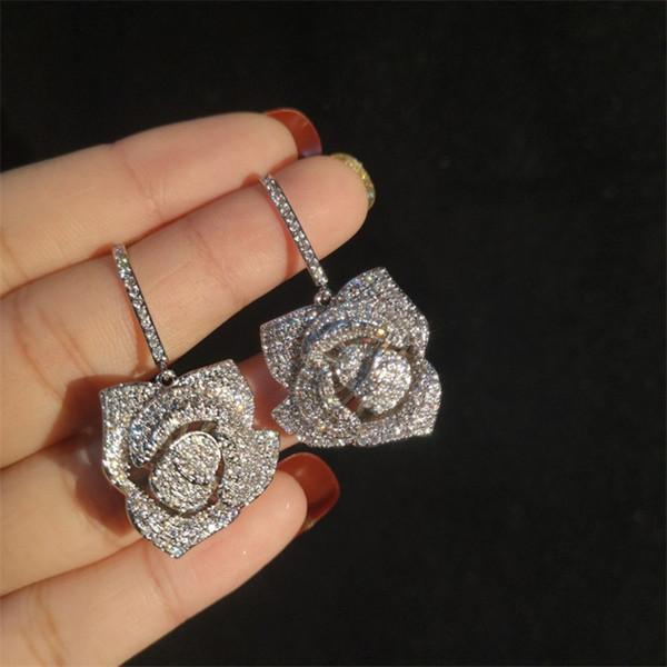 marque designer bijoux de mariage femmes boucles d'oreilles 2019 mode rose boucle d'oreille s925 argent zircon boucles d'oreilles
