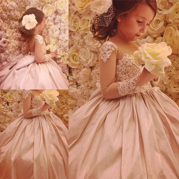 Princess Ball Gown Girls Pageant Dresses With Big Bow Sheer Neck Long Sleeve Backless Appliqued Long Toddler Kids Flower Girl Dresses