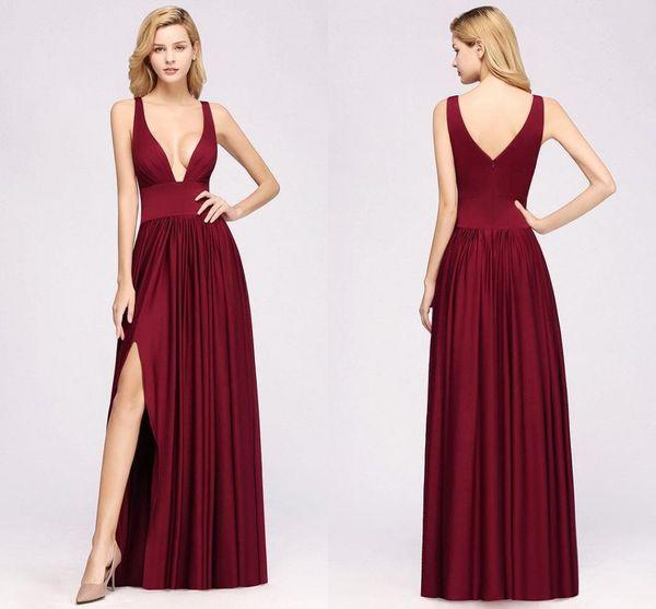 Gerçek Resimler Bordo A-line Gelinlik Modelleri Ucuz Spagetti Aç Geri Düğün Konuk Elbisesi Uzun Örgün Parti Akşam Gelinlik Modelleri BM0141
