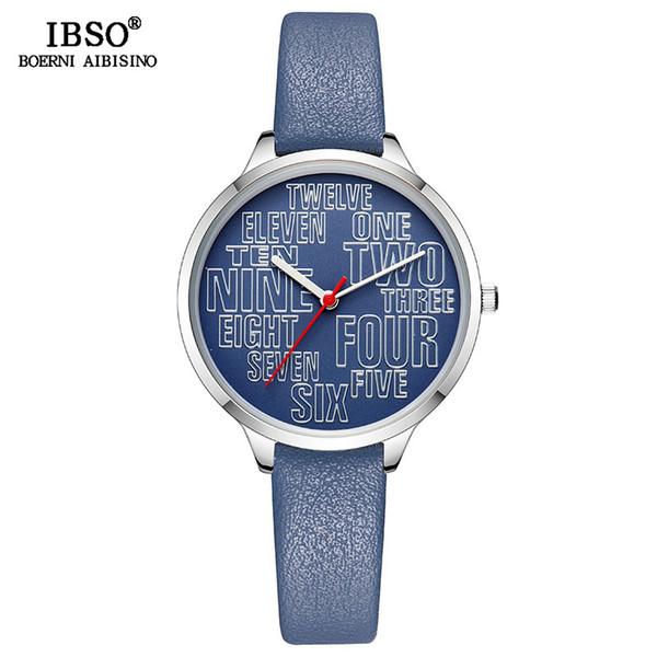 IBSO Brand Fashion Letter Dial Design Watch For Women Genuine Leather Female Quartz Watches Ladies Wristwatch