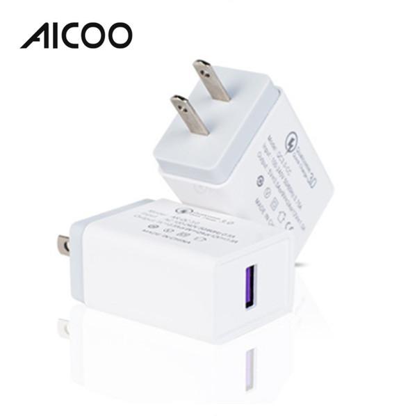 AICOO Single Port QC3.0 Cargador de viaje universal de carga rápida USB 5V 2.1A de carga rápida para EE. UU. EU OPP