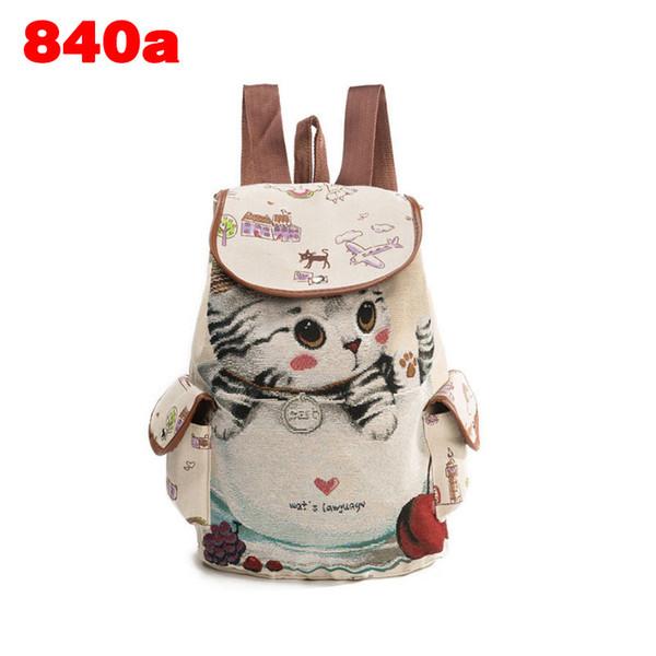 Ladies Casual Travel Backpack Teenager Girls School Bag Big Capacity Fashion Women Canvas Cute Cat Printed Shoulder Bag Fa$3