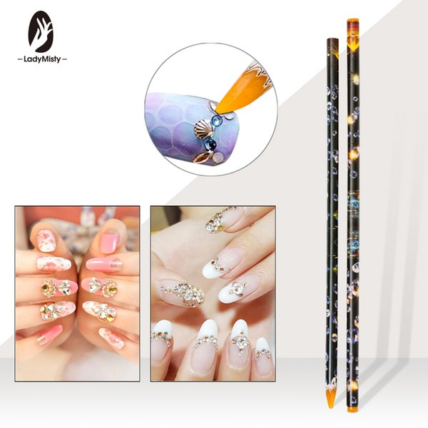 Ladymisty 1pc Crayon Wax Dotting Pen Pencil Picker Wax Pen Easily Pick Up Manicure Dotting Tool Random Color