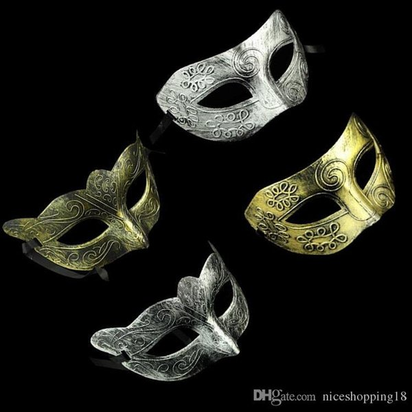 Mezza faccia arcaistica Roma Maschera da uomo classica antica Mardi Gras Masquerade Halloween Maschere da festa in maschera Argento Oro t152