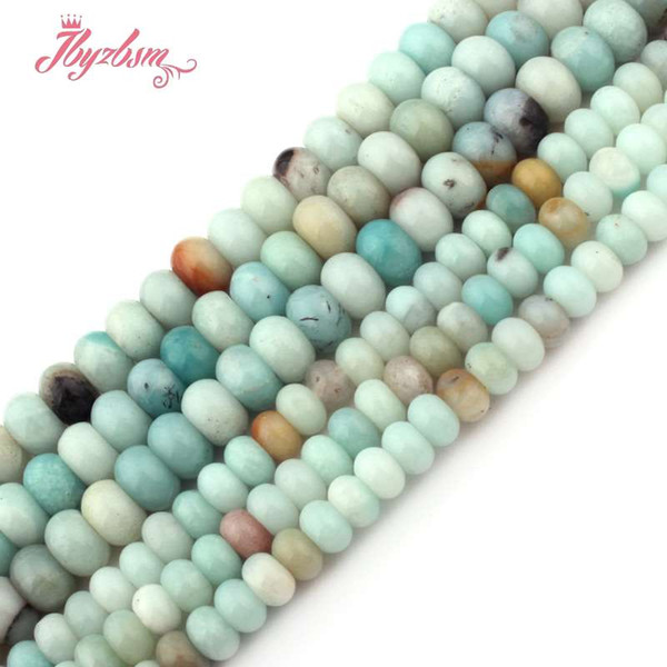 "3x6mm 4x8mm Smooth Mutil-Color Amazonite Stone Rondelle Spacer Loose Beads for DIY Bracelet Jewelry Making 15""Free Shipping"