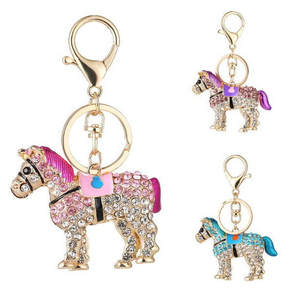 Horse Shaped Charms Women Girls Car Key Chain Ring Jewelry Crystal Pendants Bag Key Holder Gift Accessories