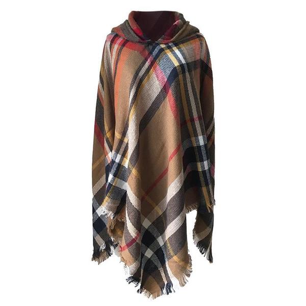 Autumn And Winter Colorful Plaid Hooded Cape Shawl Cloak Women Fashion Casual Wrap Poncho Long Shawl Coat Free Shipping