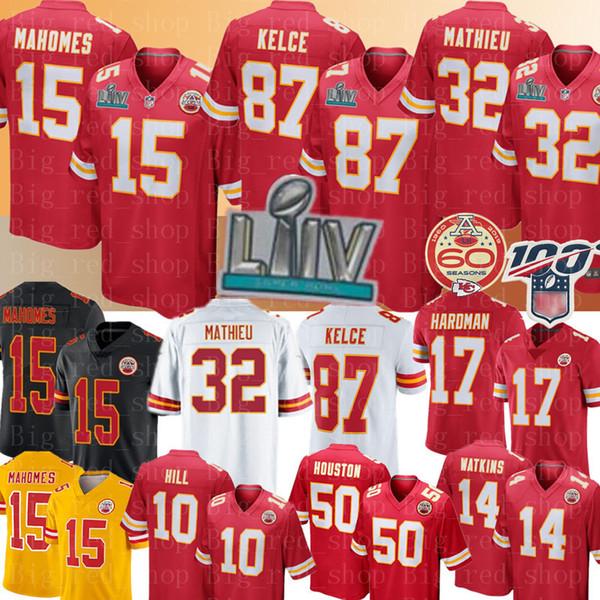 2020 Patrick Mahomes 15 Kansas City Chiefs Mens Jersey 87 Travis Kelce 32 Tyrann Mathieu Tyreek Hill maglie Mecole Hardman Watkins Calcio