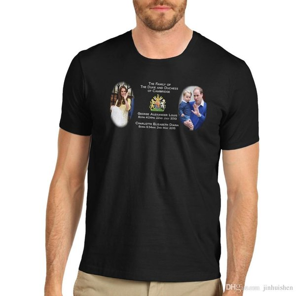 Camiseta Hipster Roupas de Marca T Camisa dos homens O Duque E Duess De Cambride T-Shirt Nova Marca de Roupas Casuais