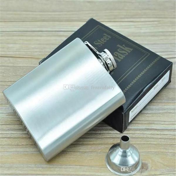 6 oz Hip Flask en acier inoxydable avec Entonnoir alcool Mini petite poche d'alcool Flasque Male Whisky Vin Métal Tourné bouteilles Gift Set cc9-14 2018