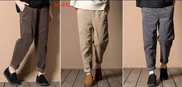 Harem Trousers Loose Pants Corduroy Elastic Waist Casual Style New Design M L XL 2XL 3XL 4XL Plus Size Women Capris