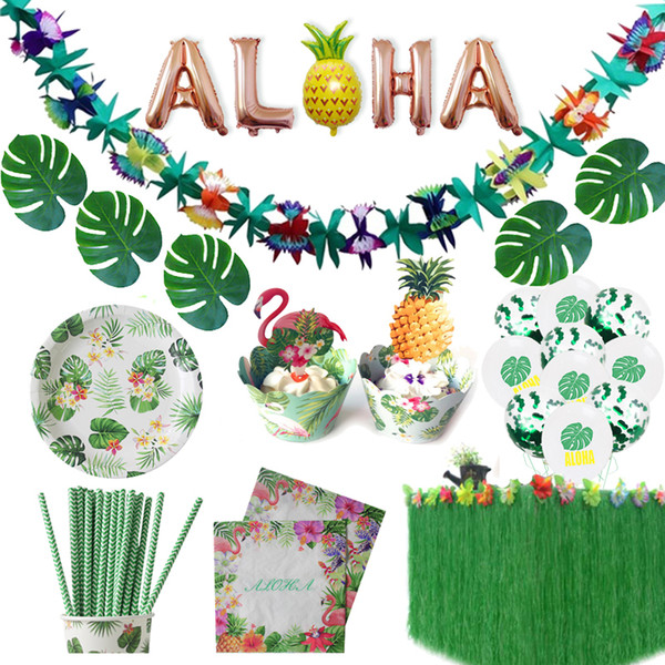 Wholesale tropical decorations for sale - Group buy heap DIY Decorations Hawaiian Party Decorations Artificial Flowers Palm Leaves Bunting Banner Luau Flamingo Summer Tropical Party Weddin