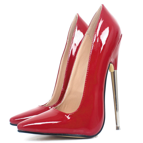 2019 new personality Europe and America sexy sexy large size 18 cm high heel stiletto single shoes dress up anti-string fake stockings high