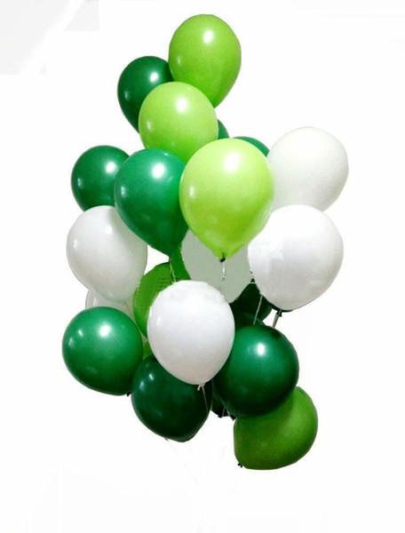 30pcs12 pulgadas globos de látex globos verdes y blancos para Dinasour Party Kids Party Decorations 3 colores mezcla globo de látex SH190723