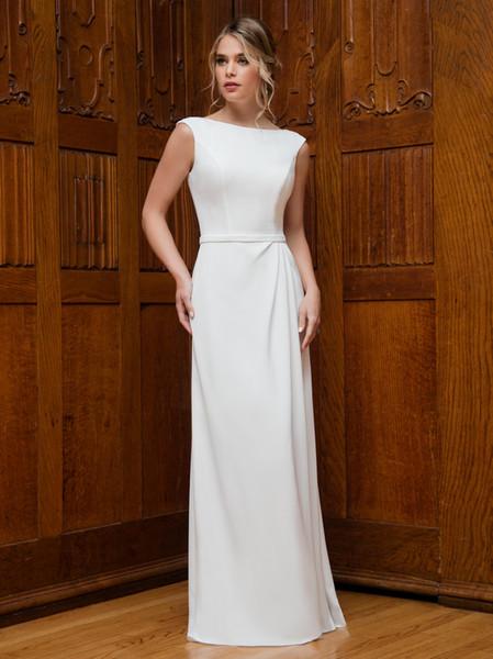 Free Wrap Beauty White Avorio in chiffon Guaina Abiti da sposa Abiti da sposa Abiti da festa da sposa Formato personalizzato 2-18 WW212189