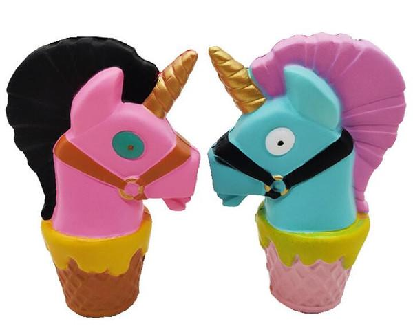 Ice Scream Squishy Unicorn Альпака Моделирование Животных Медленно растущие игрушки Jumbo Rainbow Horse Head Squishies детям Подарок Сожмите Игрушку Подвески