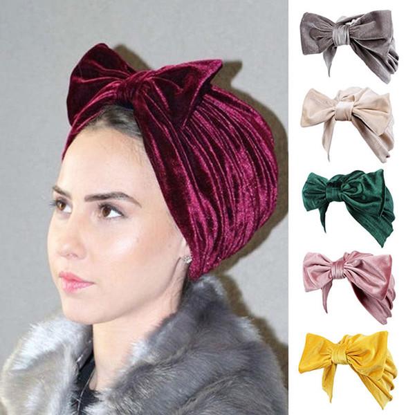 Moda Donna Bow bowknot Hijab Cappellino in velluto Chemo Hat Musulmano Turbante Bandane per la festa nuziale Accessorio per capelli