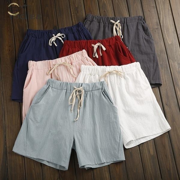 Elastic Wasit pantaloncini estivi donne Shorts di cotone lino pantaloni Feminino di Donna Home allentato bicchierini casuali di più il formato con Pocket