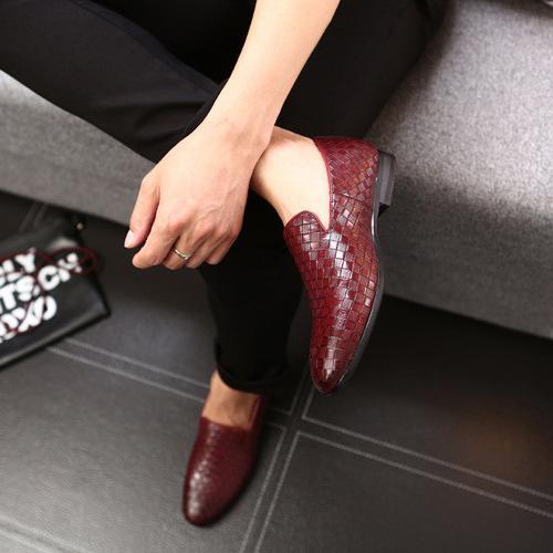Roter Leder-Loafer