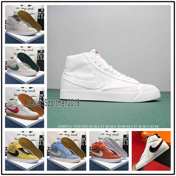Sıcak Blazers Orta 77 Vintage Süet Skate kurulu Ayakkabı Moda Ayakkabı Gri Sarı 77 Zapatos Ayakkabı Adam Womans Vintage Paten beyaz tuval Sneakers