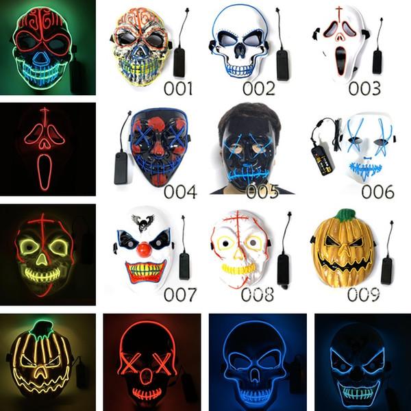 Halloween Maske LED Scary Masks Schädel Maskerade Maske EL Wire Ghost Pumpkin Halloween Tanzen Cosplay Party Masken 7003