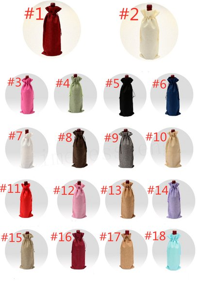 18 Colors Linen Drawstring Wine Bags Dustproof Wine Bottle Packaging Bag Champagne Pouches Party Gift Wrap Free ShipAA19134
