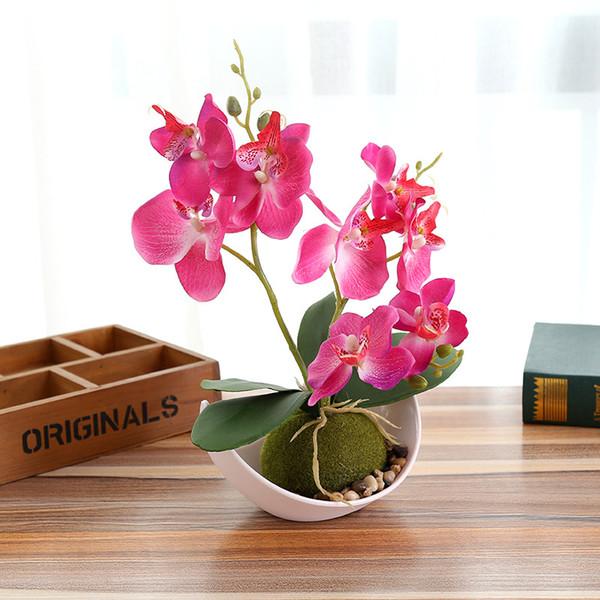 Papillon artificiel Orchidée Plantes en pot de soie Fleur décorative avec des pots en plastique pour la maison Balcon Décoration vase set-w