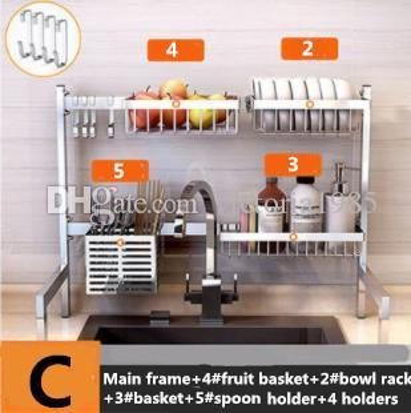 New 63cm 304 Stainless Steel Kitchen Dish Rack Plate Cutlery Cup Dish Drainer Sink Drying Rack Kitchen Organizer Storage Holder Cset 2