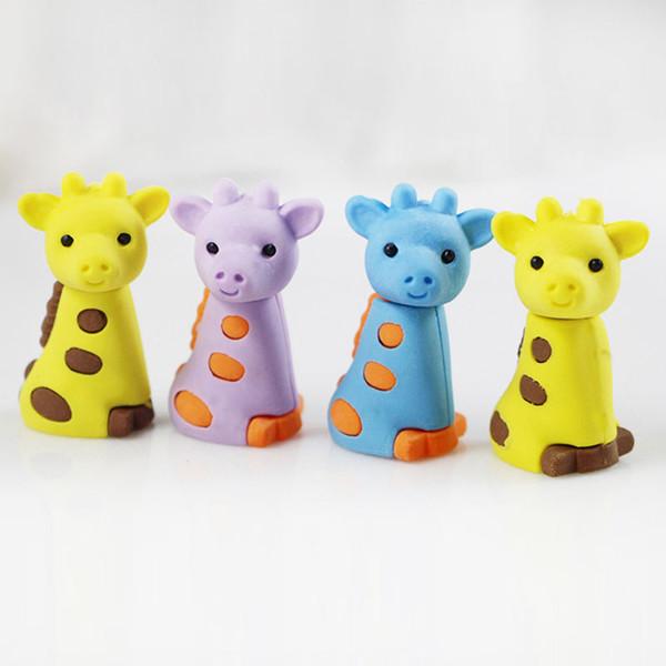 Giraffe borrado de dibujos animados extraíble goma goma papelería útiles escolares papelaria niños penil borrador regalo del juguete Envío gratis color al azar
