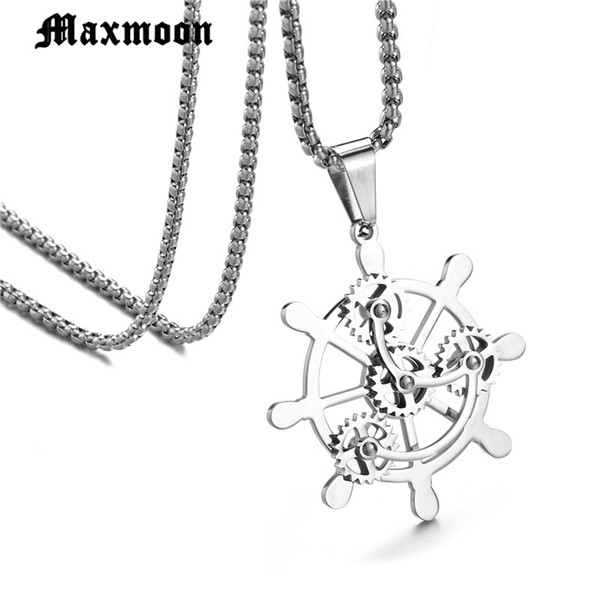 Maxmoon Personality Ship Pirates Rudder Gear Pendant Necklace Stainless Steel Wheel Men's Chain Necklace Nautical Male Jewelry
