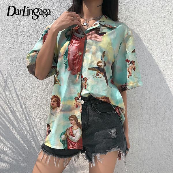 Darlingaga Vintage Aesthetic Cupid Angel Print Damen Bluse Shirt Strickjacke Kurzarm Sommer Top Grafik Bluse Frauen Kleidung