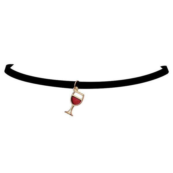Hot Sale Fashion False Collar Goblet Wine Glass Blue Red Green Pendant Black Velvet Leather Choker Necklace for Women Jewelry