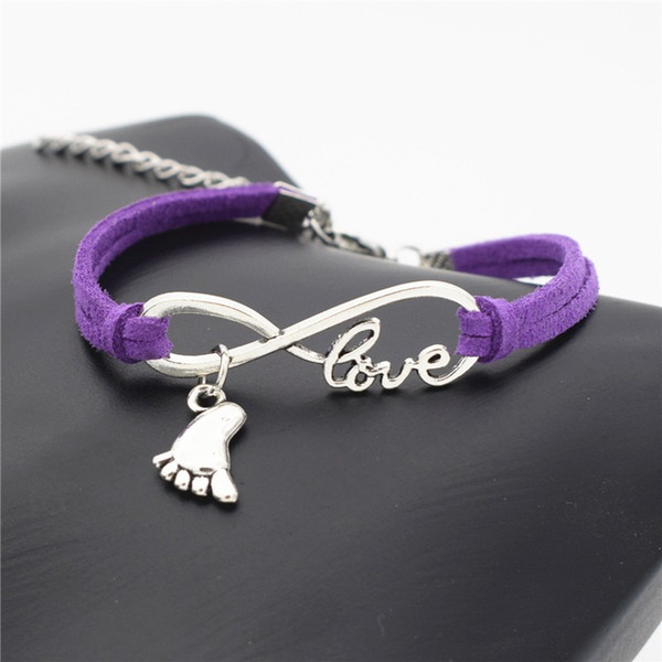 Exquisite Fashion Purple Leather Suede Rope Adjustable Diy Bracelets Silver Infinity Love Foot Feet Pendant Handmade Jewelry Valentines Gift