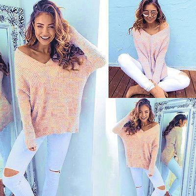 2019 Heiße neue Damen Damen Sexy Plain Übergroßen Baggy Gestrickte Jumper Chunky Pullover Top