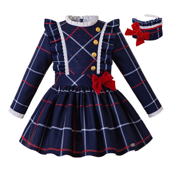 Pettigirl Blue Christmas Grid Girls Robe bandeau bouton et école d'hiver Bow Enfants Vêtements Uniforme Style G-DMGD208-229