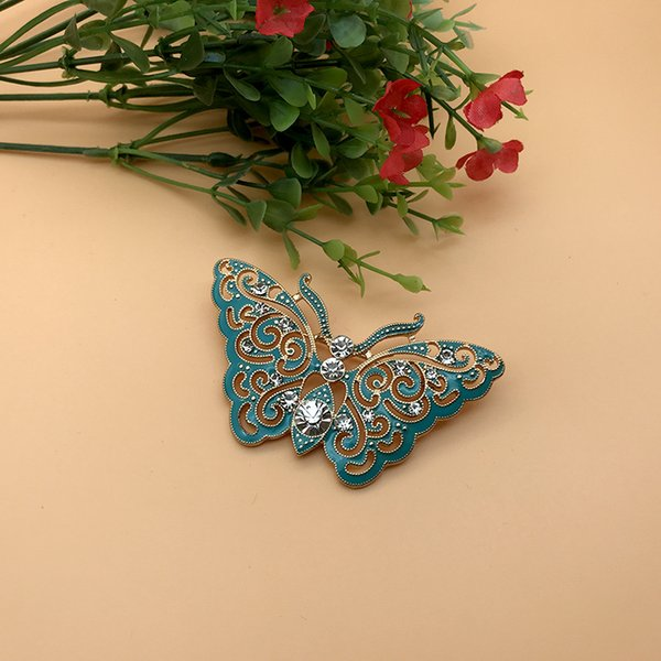 Moda Esmalte Broches Azul Rhinestone Borboleta Broche Terno de Lapela Pin Para Mulheres Homens de Luxo Designer de Jóias Acessórios Atacado