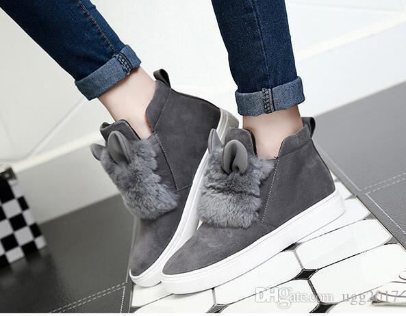 Women'S Shoes Winter 2017 New Wild Rabbit Ears Snow Boots Women Short Boots  Students Cute Flat Boots Tide Boots No 7 Bootie From Vipbuyer2018, $48 25|