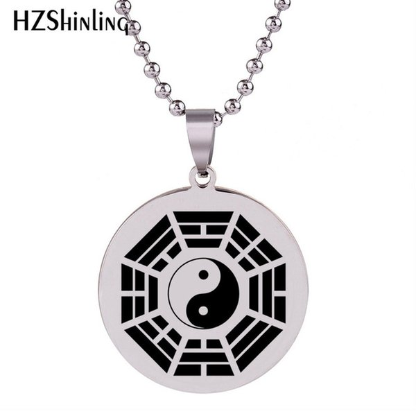 Wholesale 2019 New Later Heaven Trigram Necklace Silver Round Stainless  Steel Pendant Art Hand Craft Jewelry Ball Chain HZ7 Pendant Silver Chain
