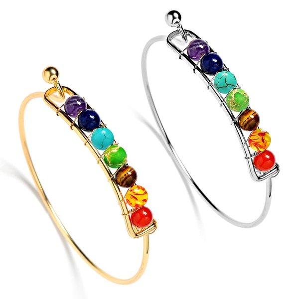 Boho Charm Bangles Natural Stones Beads Bracciale 7 Chakra Healing Balance Bracciali Bangles Gioielli per le donne Regali