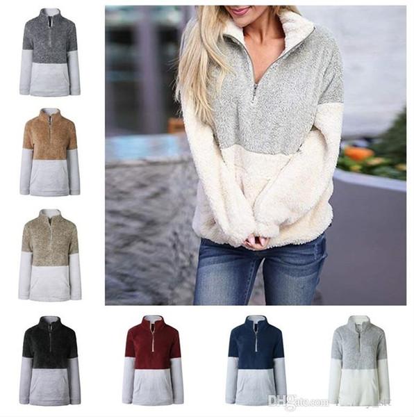 Sherpa Pullover Women Winter Fleece Hoodies Sweatshirt Oversized V-Neck Zipper Sweater Long Sleeve Tops Patchwork Autumn hoodie 8 Color