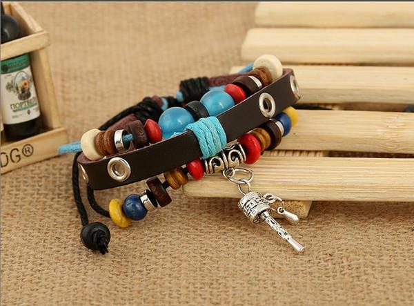 Pulseira de oração meditação maniwheel encantos pulseira tecer corda pulseira de couro Genuíno pulseira braçadeira para mulheres homens contas braçadeira